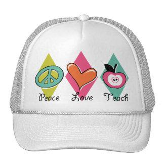 Peace Love Teach Mesh Hats