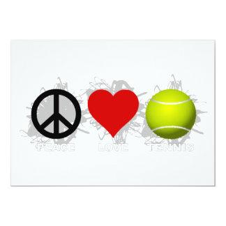 Peace Love Tennis Emblem 13 Cm X 18 Cm Invitation Card
