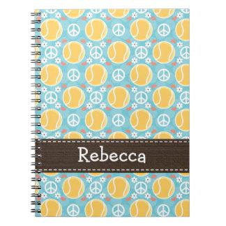 Peace Love Tennis Spiral Notebook Journal