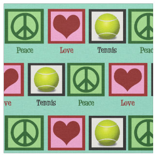 Peace Love Tennis Teal Green Fabric