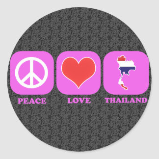 Peace Love Thailand Round Stickers