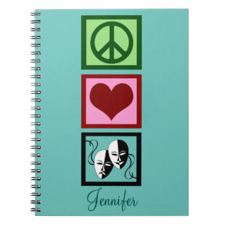 Peace Love Theatre Personalized Teal Notebook