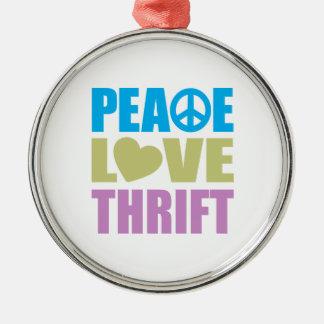 Peace Love Thrift Metal Ornament