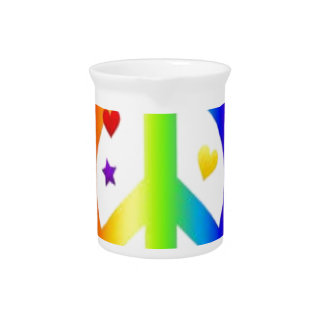 PEACE LOVE TIE DYE HIPPIE SYMBOL PITCHER