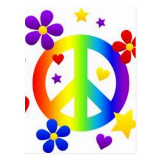 PEACE LOVE TIE DYE HIPPIE SYMBOL POSTCARD
