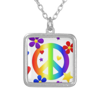 PEACE LOVE TIE DYE HIPPIE SYMBOL SILVER PLATED NECKLACE