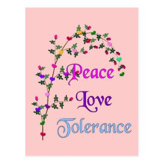 Peace Love Tolerance Postcard