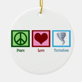 Peace Love Tornadoes Ceramic Ornament
