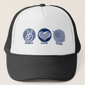 Peace Love Track Trucker Hat