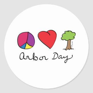 Peace Love & Trees - Arbor Day Round Sticker