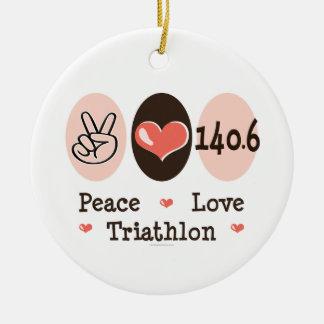 Peace Love Triathlon 140.6 Ornament