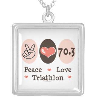 Peace Love Triathlon Sterling Silver Necklace