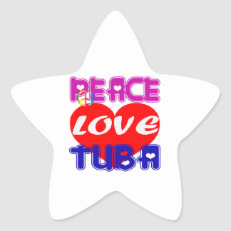 Peace Love Tuba Star Stickers