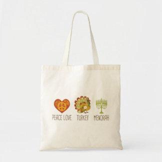 Peace Love Turkey Menorah Budget Tote Bag
