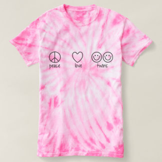 Peace, Love, Twins (Cyclone Tie Die) T-Shirt