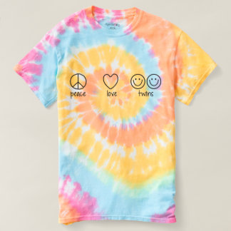 Peace, Love, Twins (Tie Die) T-Shirt