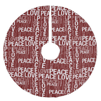 Peace Love Typography Brushed Polyester Tree Skirt