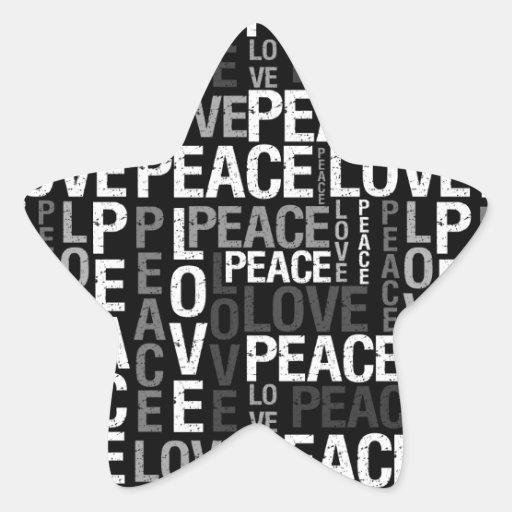 Peace Love Typography Star Sticker