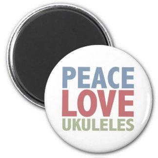 Peace Love Ukuleles 6 Cm Round Magnet