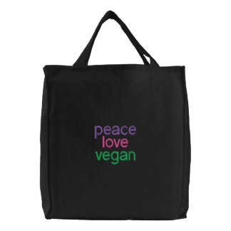 peace, love, vegan embroidered bag