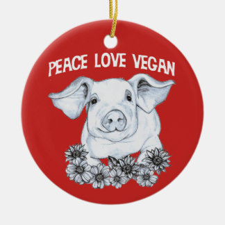 Peace Love Vegan Hand drawn Pig Christmas Ornament