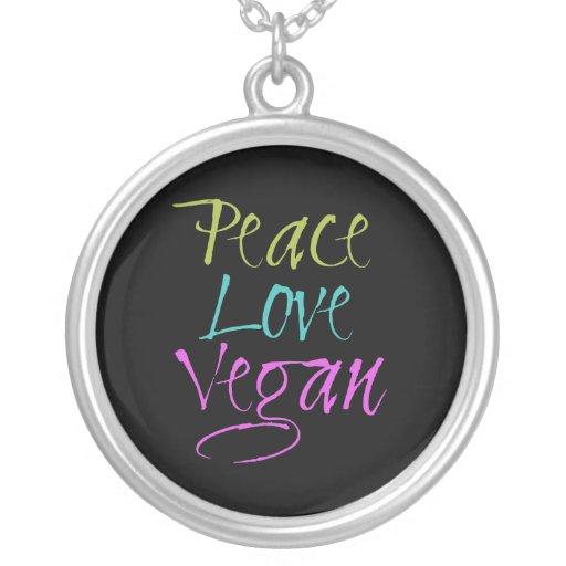 Peace, Love, Vegan Necklace