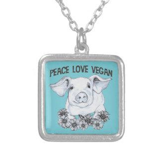 Peace Love Vegan Pig Necklace Pendant