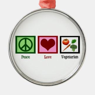 Peace Love Vegetarian Metal Ornament