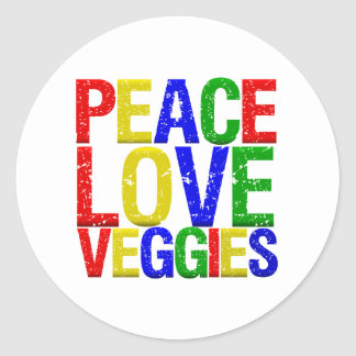 Peace Love Veggies Round Sticker