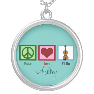 Peace Love Violins Custom Teal Silver Plated Necklace