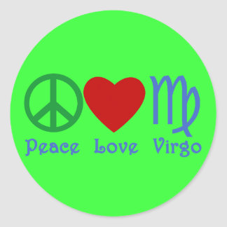 Peace Love Virgo Gifts and Products Round Sticker