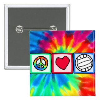 Peace, Love, Volleyball Pinback Buttons