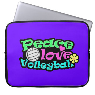 Peace, Love, Volleyball; Retro Laptop Sleeve