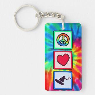 Peace, Love, Wakeboarding Single-Sided Rectangular Acrylic Key Ring
