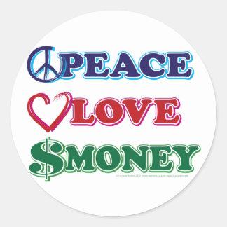 Peace-Love-Wall-Money Classic Round Sticker
