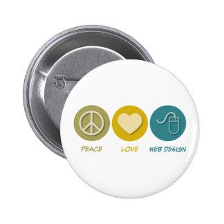 Peace Love Web Design 6 Cm Round Badge
