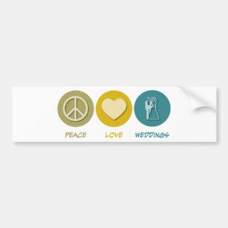 Peace Love Weddings Bumper Sticker