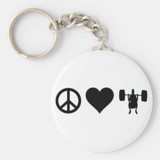 Peace Love Weightlifting Basic Round Button Key Ring