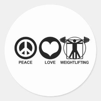 Peace Love Weightlifting Round Sticker