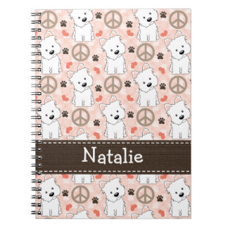 Peace Love Westies Spiral Notebook Journal