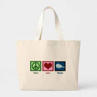 Peace Love Whales Jumbo Tote Bag