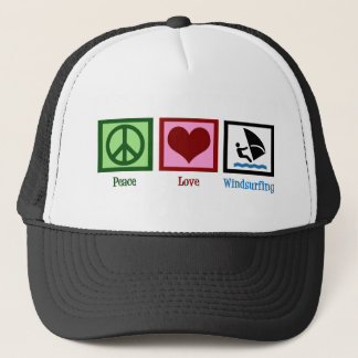 Peace Love Windsurfing Trucker Hat