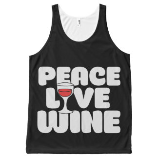 Peace Love Wine All-Over Print Tank Top