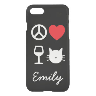 Peace, Love, Wine and Cats 2  Personalized iPhone 8/7 Case