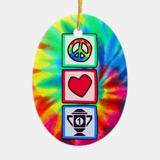 Peace, Love, Winning Christmas Ornament