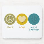 Peace Love Wood Carving Mouse Pads