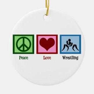 Peace Love Wrestling Ceramic Ornament
