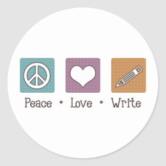 Peace Love Write Classic Round Sticker