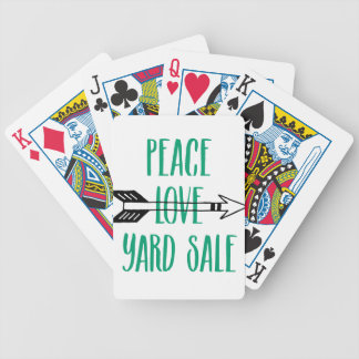 Peace Love Yard Sale Arrow Line Bicycle Playing Cards