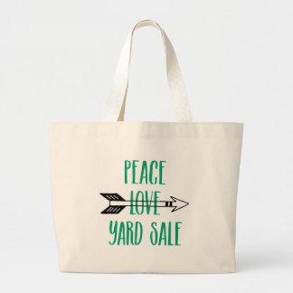 Peace Love Yard Sale Arrow Line Jumbo Tote Bag